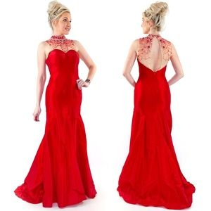 Red Open Back Illusion Prom Dress Pageant Gown